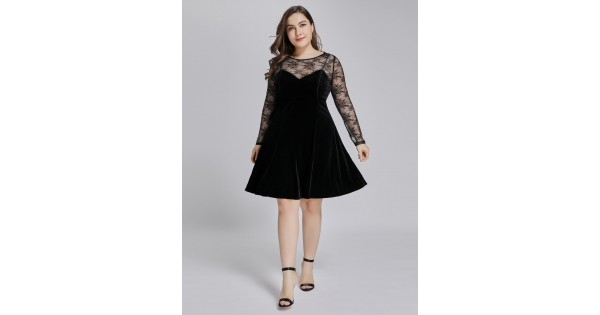 Plus Size Lace and Velvet Little Black Dress with Long Sleeves