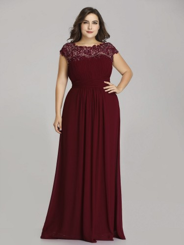 Elegant Plus Size Floor Length Chiffon Burgundy Evening Gown with Lacey Top