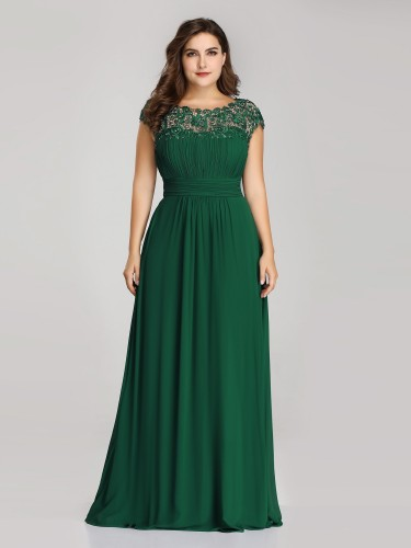 Elegant Plus Size Floor Length Chiffon Green Evening Gown with Lacey Top