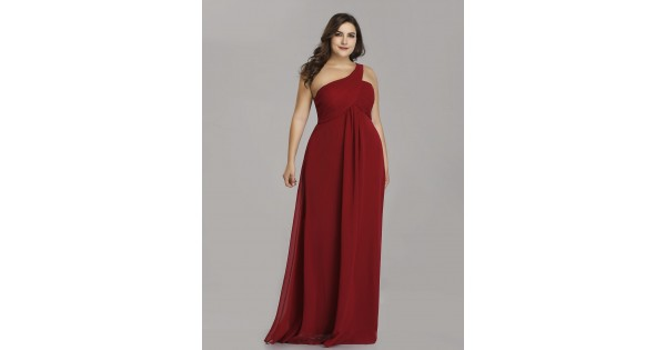 Plus Size One Shoulder Ruched Red Long Evening Dress