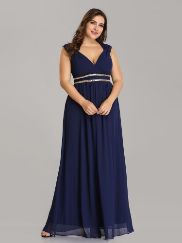 Plus Size Sleeveless Goddess Blue Flowing Gown with Crystal Beaded ...