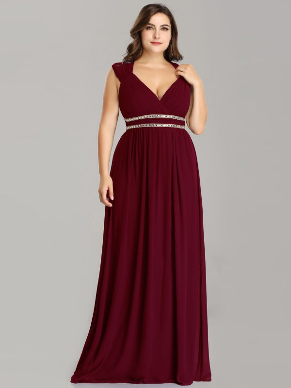 Plus Size Sleeveless Goddess Red Flowing Gown with Crystal ...