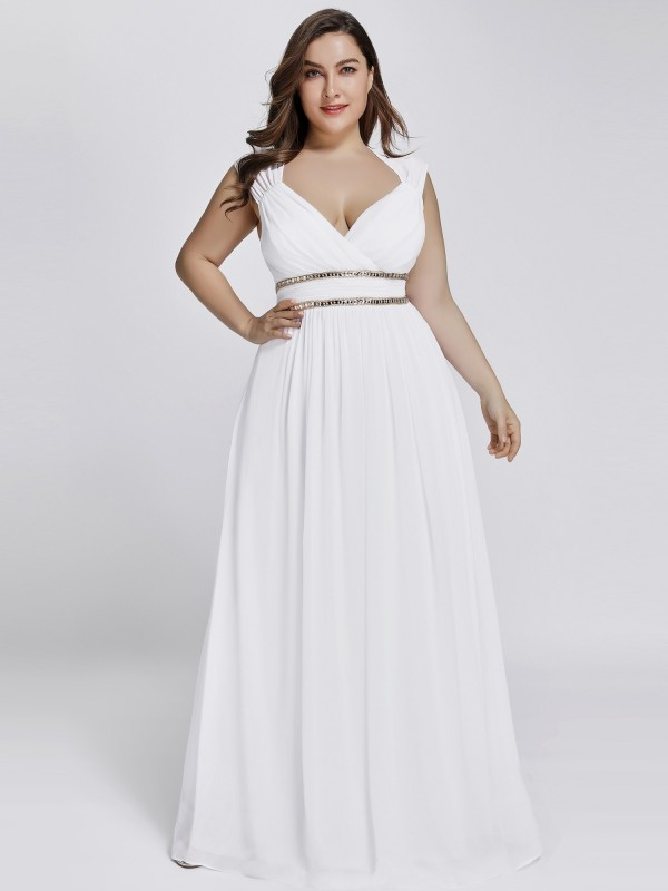 Plus Size Sleeveless Goddess White Flowing Gown with Crystal ...