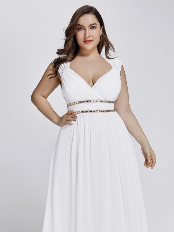 Plus Size Sleeveless Goddess White Flowing Gown with Crystal Beaded ...