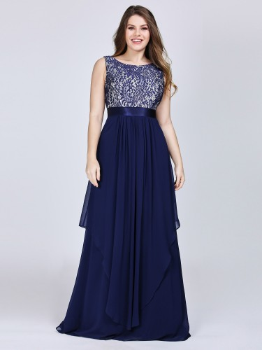Plus Size Sleeveless Lace Bodice Navy Blue Evening Dresses