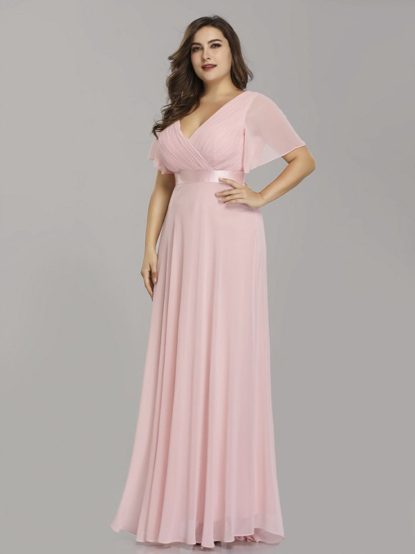 Plus Size V Neck Pink Evening Dress With Flutter Sleeves