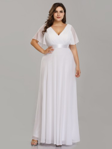 Plus Size V Neck White Evening Dress With Flutter Sleeves