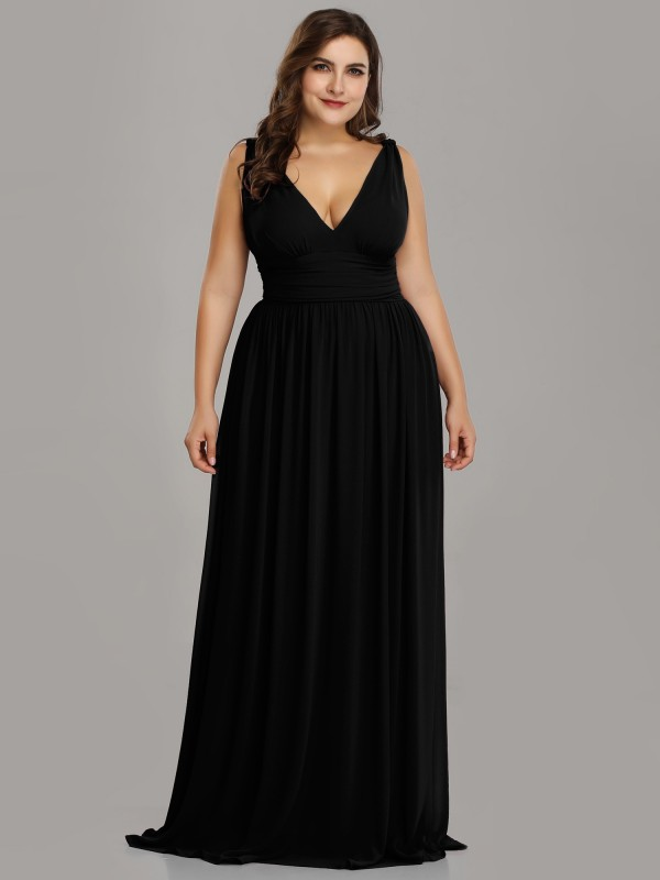 V Neck Black Plus Size Semi Formal Maxi Dress