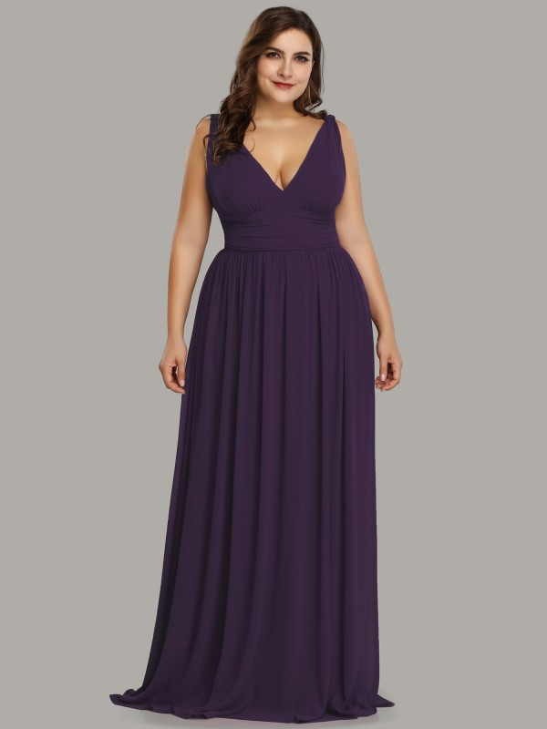 V Neck Purple Plus Size Semi Formal Maxi Dress