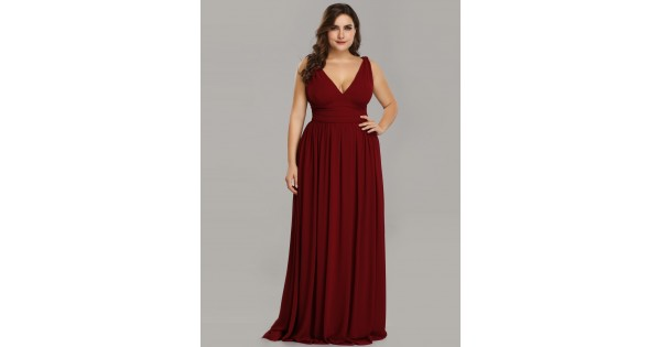 V Neck Red Plus Size Semi Formal Maxi Dress