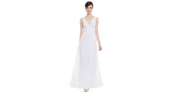 V Neck White Plus Size Semi Formal Maxi Dress