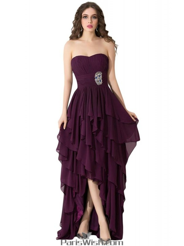 Tiered Chiffon Strapless High Low Purple Prom Evening Dresses