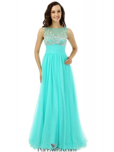 tulle illusion neckline turquoise prom formal dresses with beading details