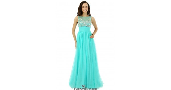 Tulle Illusion Neckline Turquoise Prom Formal Dresses With Beading ...