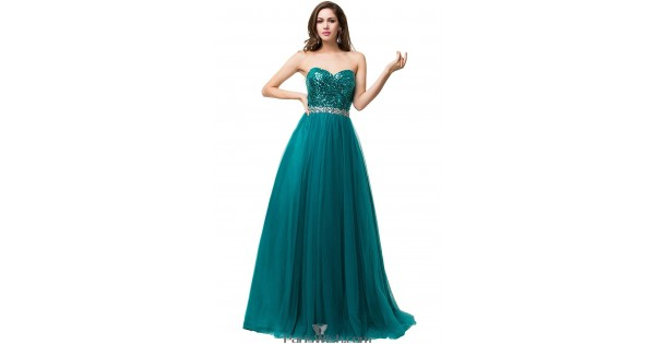 Tulle Sequin Long Formal Dresses Teal Prom Dress