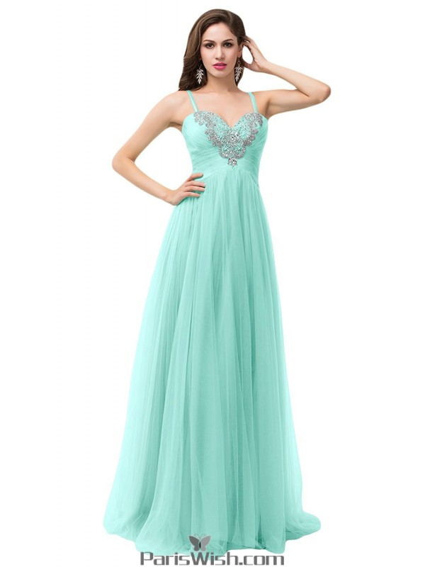 Tulle Spaghetti Mint Prom Dresses Plus Size Formal Dresses