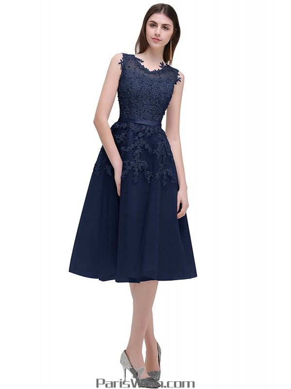 Tulle Tea Length Illusion Navy Blue Cocktail Prom Dresses