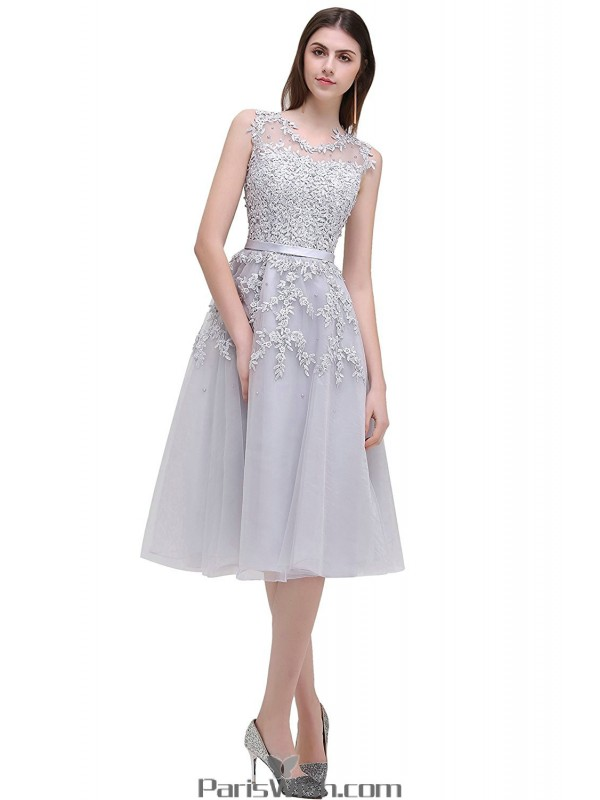 Tulle Tea Length Illusion Silver Cocktail Prom Dresses