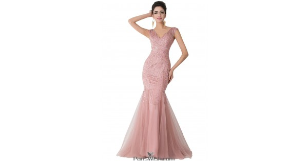 V Neck Tulle Nude Pink Mermaid Formal Gown Beaded Prom Dresses