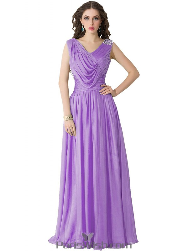 Chiffon Draped Sequin Long Lavender Plus Size Prom Formal Dresses