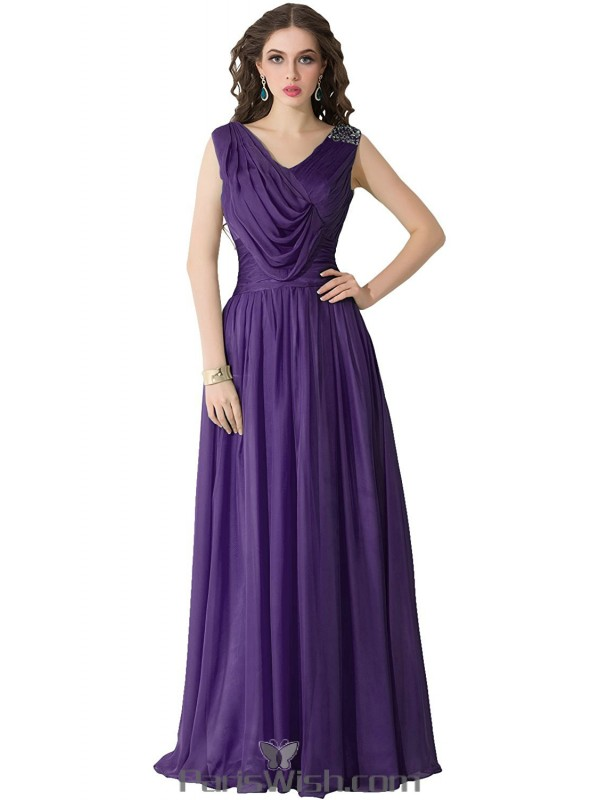 Chiffon Draped Sequin Long Purple Plus Size Prom Formal Dresses