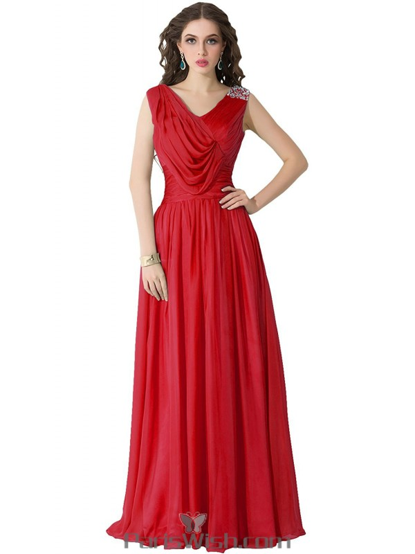 Chiffon Draped Sequin Long Red Plus Size Prom Formal Dresses