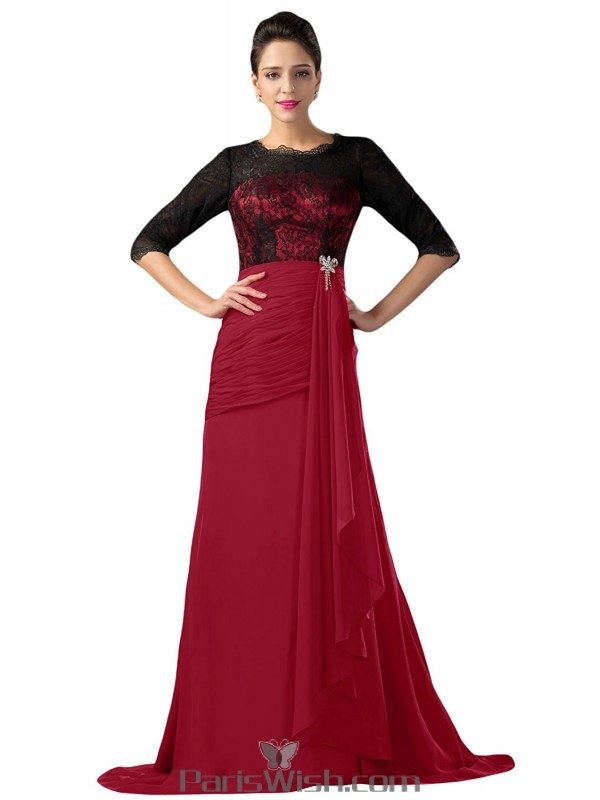 Chiffon Lace Red And Black Evening Prom Dresses With Long Sleeves ...