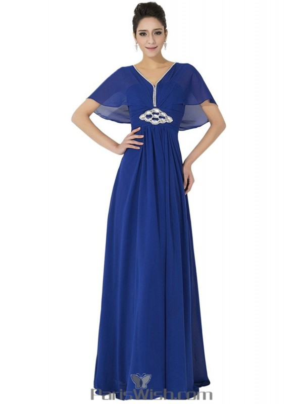Chiffon Sequin Floor Length Royal Blue Plus Size Prom Formal Dresses
