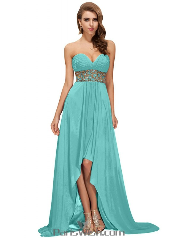 Chiffon Strapless Sequin Blue High Low Prom Cocktail Dresses