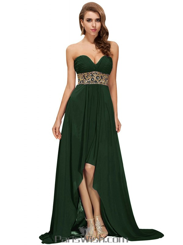 Chiffon Strapless Sequin Dark Green High Low Prom Cocktail Dresses