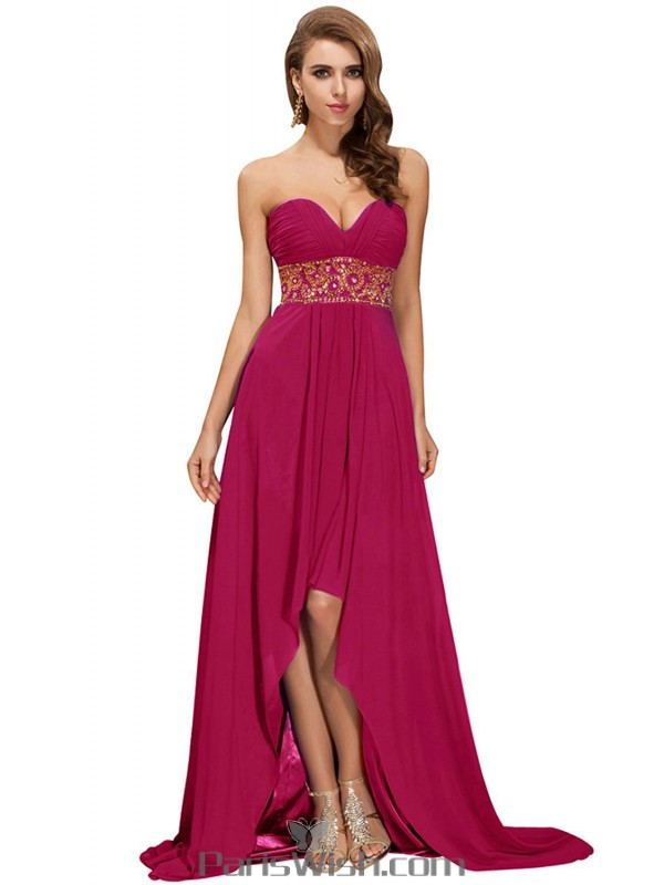 Chiffon Strapless Sequin Fuchsia High Low Prom Cocktail Dresses