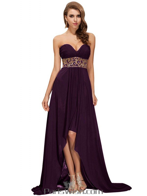 Chiffon Strapless Sequin Grape High Low Prom Cocktail Dresses