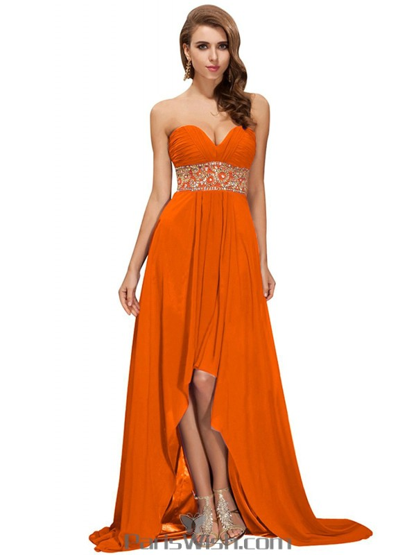 Chiffon Strapless Sequin Orange High Low Prom Cocktail Dresses