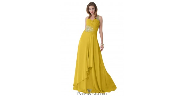 Crystal Chiffon One Shoulder Gold Plus Size Evening Prom Dresses