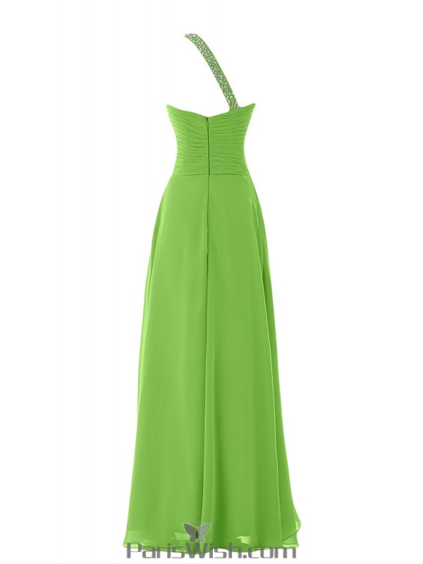 Crystal Chiffon One Shoulder Lime Green Plus Size Evening ...