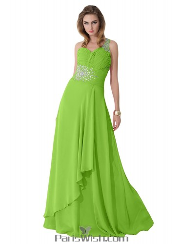 Crystal Chiffon One Shoulder Lime Green Plus Size Evening Prom Dresses