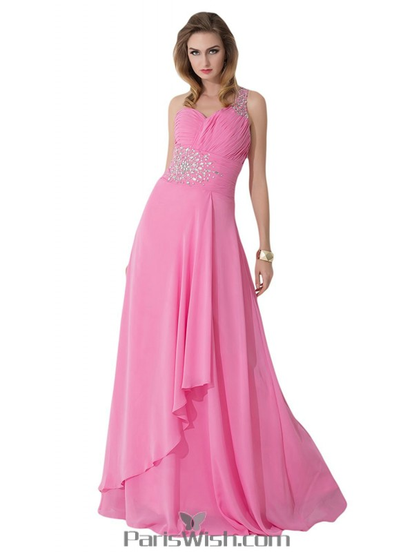 Crystal Chiffon One Shoulder Pink Plus Size Evening Prom Dresses