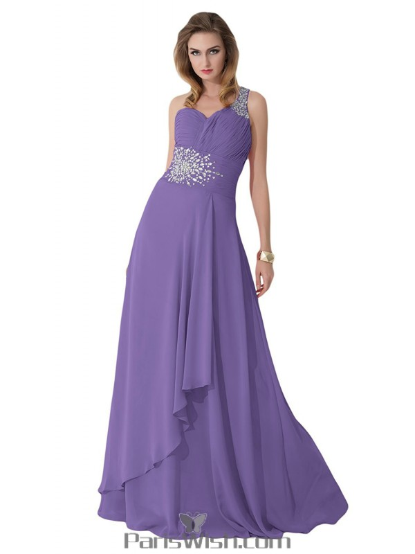 Crystal Chiffon One Shoulder Purple Plus Size Evening Prom Dresses