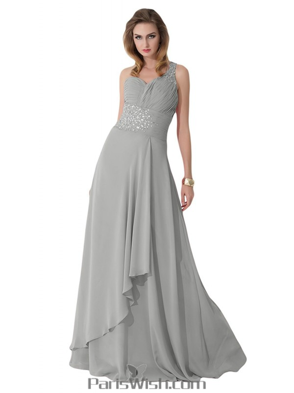 Crystal Chiffon One Shoulder Silver Plus Size Evening Prom Dresses