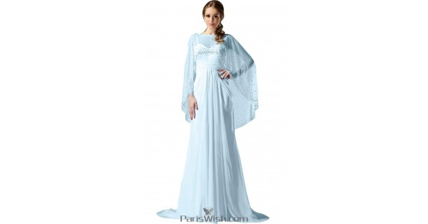 Pleated Chiffon Beaded Light Sky Blue Cape Evening Prom Dresses