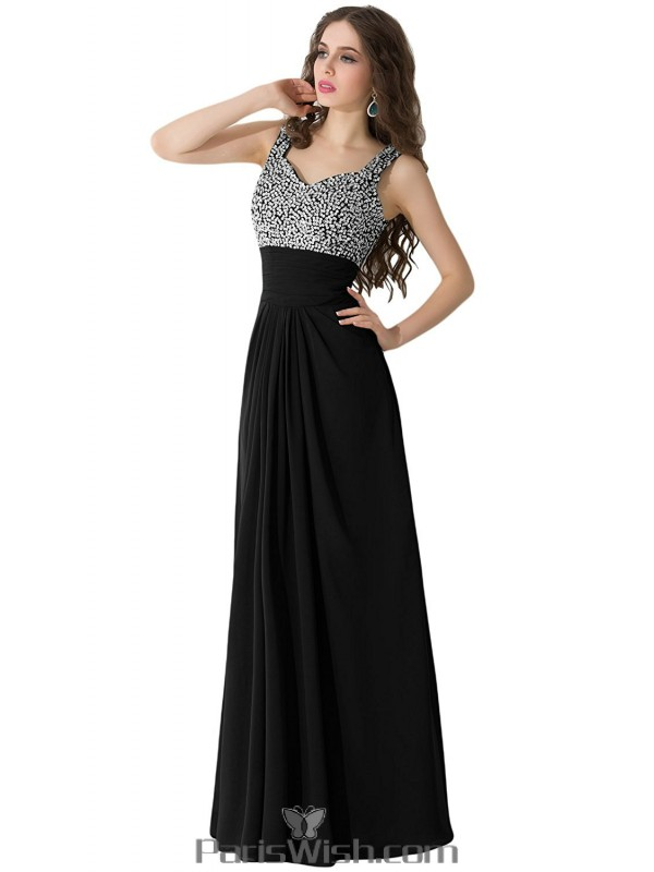 Pleated Chiffon Long Black Plus Size Prom Formal Dresses With ...