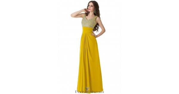 Pleated Chiffon Long Gold Plus Size Prom Formal Dresses With Rhinestone Top