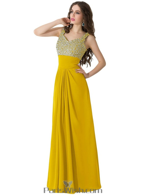 Pleated Chiffon Long Gold Plus Size Prom Formal Dresses With