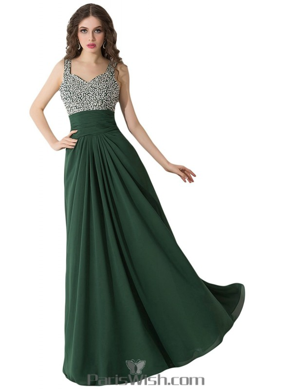 3606c5ad3ab52 Pleated Chiffon Long Hunter Green Plus Size Prom Formal Dresses With ...