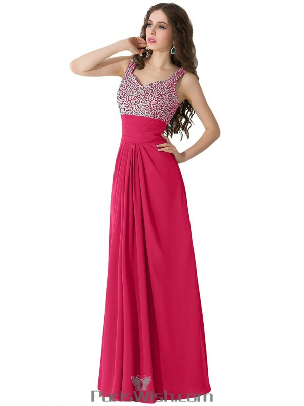 Pleated Chiffon Long Light Fuchsia Plus Size Prom Formal Dresses