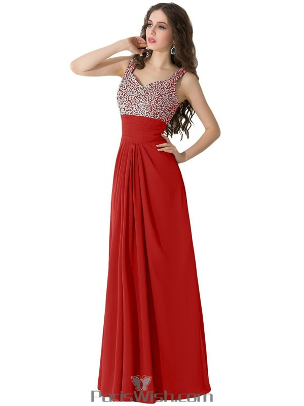 Pleated Chiffon Long Red Plus Size Prom Formal Dresses With ...