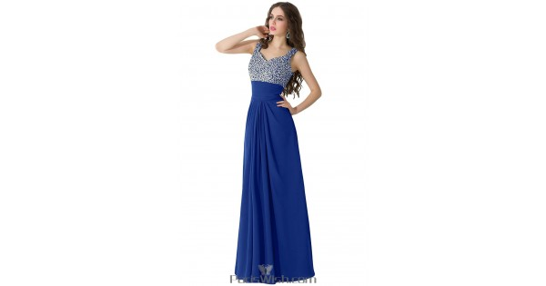 Pleated Chiffon Long Royal Blue Plus Size Prom Formal Dresses With  Rhinestone Top
