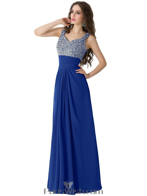 Pleated Chiffon Long Royal Blue Plus Size Prom Formal Dresses With
