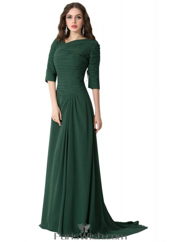 Pleated Chiffon Modest Prom Gowns Dark Green Bridesmaid Dresses With ...