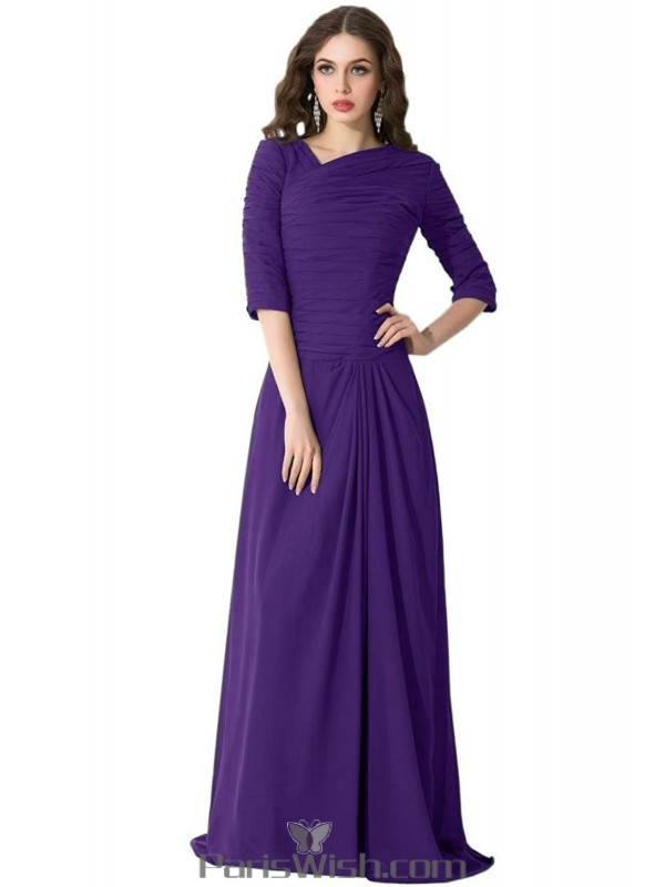Pleated Chiffon Modest Prom Gowns Teal Bridesmaid Dresses With Sleeves